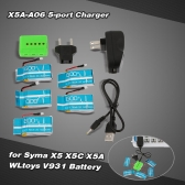 Super Fly 5-port Fast Charger Sets X5A-A06(VA12A) with 3.7V 750mAh Lipo Battery for RC Helicopter / Quadcopter Syma X5 X5C X5A X5SC X5SW Cheerson CX-30 CX-30W CX-30S JJRC H5C H9D WLtoys V931 F949