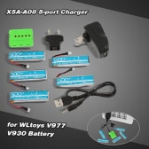 Super Fly 5-port Fast Charger Sets X5A-A08(VA13) with 3.7V 520mAh Lipo Battery for RC Helicopter WLtoys V977 V930 JJRC H37 Quadcopter