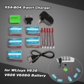 Super Fly 5-port Fast Charger Sets X5A-B04(VA26A) with 3.7V 750mAh Lipo Battery and JST Charging Cable for RC Helicopter / Quadcopter WLtoys V636 V686 V686G