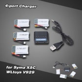 RC Drone 4-port Charger for Syma X5C UDI U816A U818A WLtoys V929 with 3.7V 800mAh 25C battery for Syma X5 X5C Cheerson CX-30