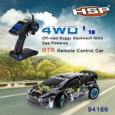 Original HSP 94177 Nitro Powered Off-road Sport Rally Racing 1/10th Scale 4WD RC Car KUTIGER Body with 2.4Ghz 2CH Transmitter RTR Version