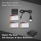 Super Fly Sets X2 2 Ports Charger with 3pcs Upgraded 3.7V 1100mAh Lipo Battery for Syma X5SC X5SW RC Quadcopter