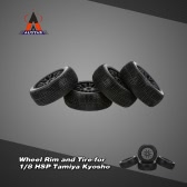 4Pcs Black Wheel Rim and Tire for 1/8 HSP Tamiya Kyosho Off-road RC Car