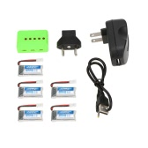 5Pcs Original JJRC 3.7V 260mAh 30C Li-po Battery with 5-port Charger Set for JJRC H22 RC Quadcopter