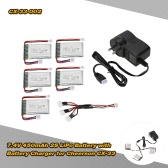 5Pcs CX-33-002 7.4V 450mAh 2S LiPo Battery with Battery Charger for Cheerson CX-33 CX-33C CX-33W RC Tricopter