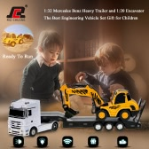 Original RUICHUANG QY1152 2.4G 1:32 Mercedes Benz Heavy Trailer and 1:20 Excavator Digger RTR RC Car Engineering Vehicle Set