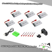 6Pcs 3.7V 500mAh Li-po Battery with 6 in 1 Charger Set for Syma X5SW X5SC X5HW X5HC RC Drone Quadcopter