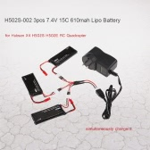 3pcs H502S-002 7.4V 15C 610mAh Lipo Batteries with 3 in 1 Battery Charger for Hubsan X4 H502S H502E RC Quadcopter