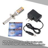 HSP Nitro Starter Kit Glow Plug Igniter with Battery Charger 2Pcs N4 Glow Plug Combo for HSP RedCat Nitro Powered 1/8 1/10 RC Car