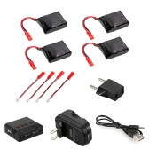 4pcs 3.7V 650mAh Li-po Battery with 4 in 1 Charger Kit for JIE-STAR X8TW Wifi FPV Drone Quadcopter
