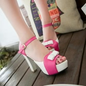 New Fashion Women Sandals Pumps Peep Toe High Block Heel Platform Bow Elegant High Heels Green/Blue/Red