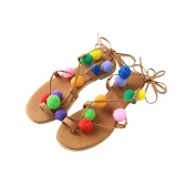 New Fashion Women Flat Sandals Colorful Bobble Pompon Lace Up Strappy Clip Toe Casual Summer Beach Shoes Black/Brown