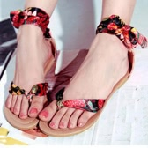 New Summer Women Flat Sandals Splice Leaf Print Bow-Knot Flip Flop Shoes Red/Yellow/Blue