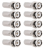 Hexagon BNC Male RG58/RG59/RG60 Connector 10pcs kit for CCTV/DVR/AV Devices