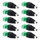 DC Male to AV Screw Terminal Block Connector 10pcs kit for Power Adapter/CCTV