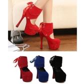 Women Sexy High Heels Platform Sole Ribbon Shoes Pumps Blue