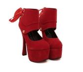 Women Sexy High Heels Platform Sole Ribbon Shoes Pumps Red