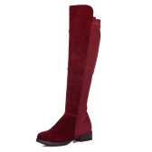 New Spring Autumn Women Long Boots Patchwork Knee Length Shoes Burgundy