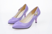 Fashion Women PU Heels Candy Color Low Cut Vamp Pointed Thin Shoes Blue