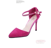 Fashion Women Summer Heels Pointed Toe Low Vamp Flat Sole Shoes Sandals Rose