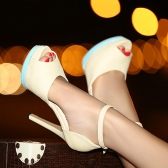 Fashion Women High Heels Ankle Strap Peep Toe Platform Sole Shoes Stilettos Pumps Beige