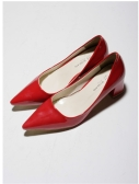 Sexy Fashion Women Heels Low Cut Vamp Pointed Toe PU Leather Shoes Red