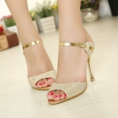 Summer Fashion Sexy Women High Heels PU Leather Peep Toe Slingback Shoes Sandals Golden