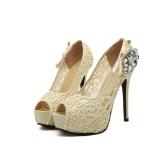 New Fashion Women Pumps Peep Toe Stiletto Platform Lace Rhinestone Elegant High Heels Beige/Pink