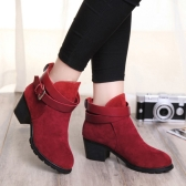 New Fashion Women Spring Autumn Shoes Ankle Boots Belt Strap Square Heels Shoes Black/Red/Beige