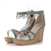 Summer Women Sandals High Wedges PU Leather Cross-over Strap Shoes Green