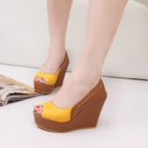 Fashion Women Wedges PU Leather Peep Toe Low Vamp Color Block Heels Shoes Yellow