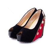 Women High Wedges Peep Toe Platform Sole Zipper Pumps High Heels Red