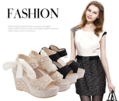 New Summer Fashion Lace High Wedges Peep Toe Platform Sole Slingback Shoes Sandals Beige