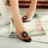 Fashion Women Transparent Sandals Wedge Heel Peep Toe Flower Rhinestones Pumps Shoes