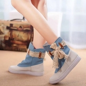 New Fashion Women Flat Boots Lace Knot Denim Patchwork Slip On Round Toe Casual Bootie Shoes Blue/ Dark Blue