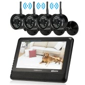 """KKmoon  2.4GHz Wireless 7"""" TFT Digital LCD Display Monitor 4 Channel Quad DVR + 4 IR Waterproof Camera with Antennas Home Security System Support Night Vision Voice Monitoring AV Output Motion Detection Recording TF Card"""