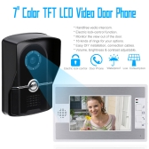 "7"" TFT Color Video door phone Intercom Doorbell Home Security System Kit IR Camera monitor Speakerphone intercom"