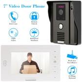 "KKmoon 7"" Video Door Phone Intercome Doorbell Remote Unlock Night Vision Rainproof Security CCTV Camera Home Surveillance TP01H-11"