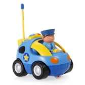 JakMean 2CH Radio Control Music and Lights Cartoon Car Police Car Toy for Kids Toddlers