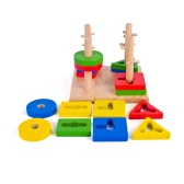 Wooden Geometric Intelligence Board with 4 Column Geometric Sorting Block Column Building Blocks Wooden Educational toy