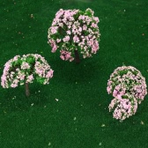 4 Pieces Plastic Model Trees Train Layout Garden Scenery White and Pink Flower Trees Diorama Miniature Pink