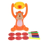 Cartoon Monkey Shape Learning Projector Kids Artist Tracing Painting and Drawing Projecting Set with Projector 6 Round Slide Lantern Discs 8 Water Color Pens