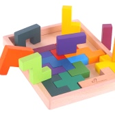 19Pcs Colorful Wooden Beech Tangram Jigsaw Brain Tetris Block Intelligence Puzzle Russian Block Intellectual Toy for Kids
