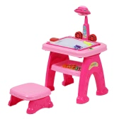Child Drawing Practice Study Table Kids UFO Appearance Projector Painting Learning Desk with Cute Mini Stool