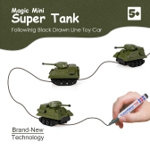 GOLD LIGHT Magic Mini Tank Follow Black Drawn Line Toy Car
