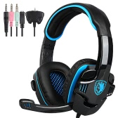 SADES SA-708GT 3.5mm Gaming Headphone w/ Mic Noise Cancellation Music Headset Black-blue Upgraded Version of SA-708 for PS4 XBOX 360 Tablet PC Mobile Phones