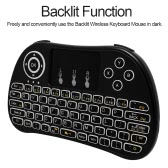 2.4GHz Wireless Keyboard with Touchpad Mouse LED Backlit Remote Control for Android TV BOX HTPC PC Smart TV
