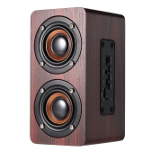 W5 Red Wood Grain Bluetooth Speaker Bluetooth 4.2 Dual Louderspeakers Super Bass Subwoofer Hands-free with Mic 3.5mm AUX-IN TF Card