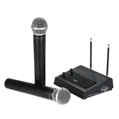 MS-205 VHF Wireless Microphone System with FM Transmitter Receiver 2 Handheld Microphones Dual Channel for KTV Teaching