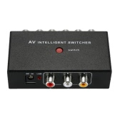 Portable AV Intelligent Switcher 2 to 1 Channel RCA Audio Video Switcher with Button Control Support Auto / Manual Control for DVD Camera Car DVR Monitor